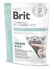 Лечебный корм для кошек Brit Veterinary Diets Cat Struvite при лечении и профилактике мочекаменной болезни400г