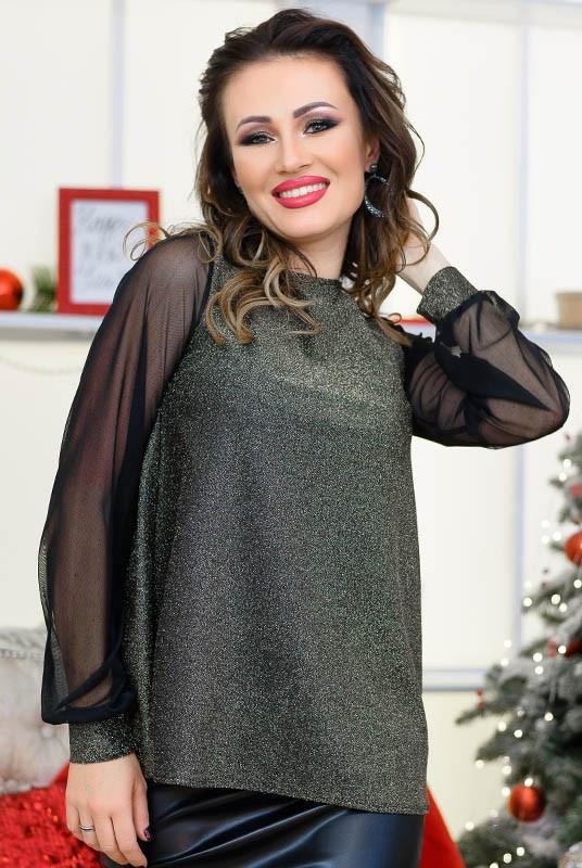 Оригинальная женская блузка с люрексом и полуоткрытой спинкой