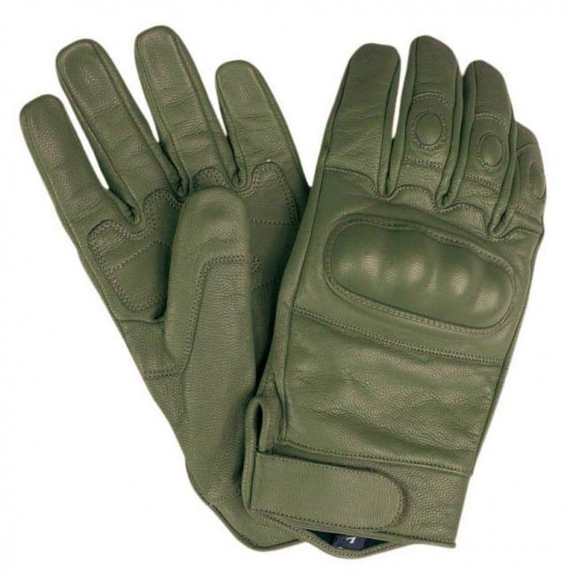 Тактические перчатки Mil-tec olive кожаные с кастетом