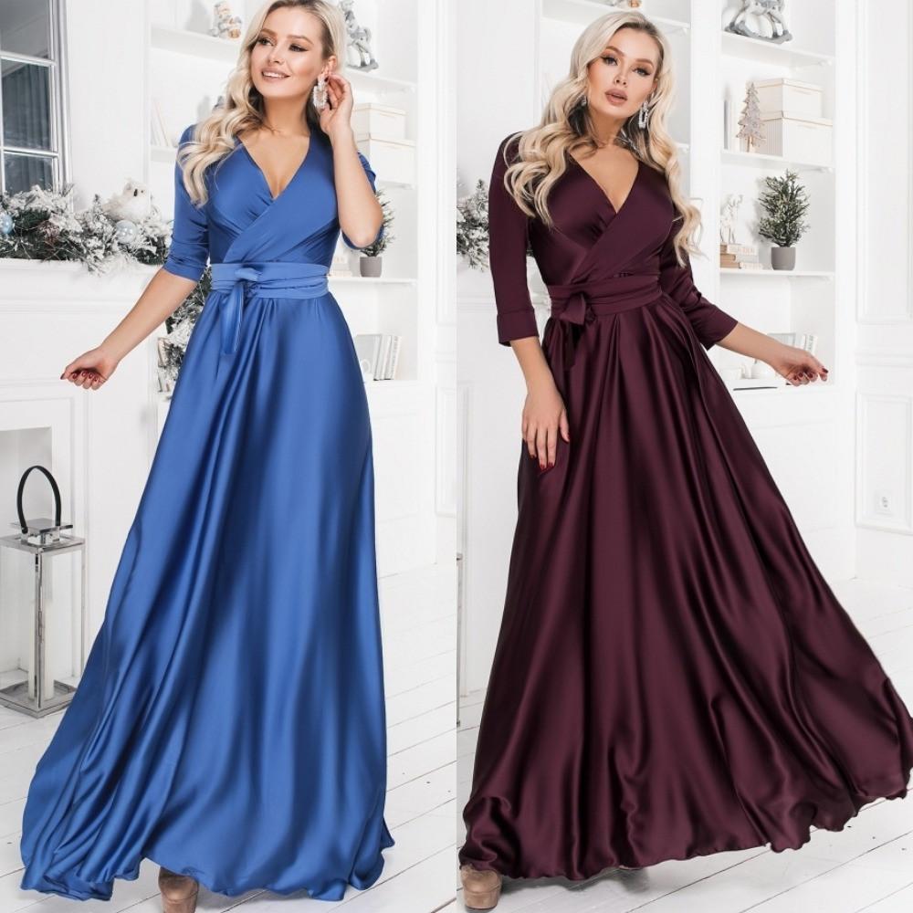 Платье женское вечернее, шелковое, длинное, в пол, нарядное, верх на запах, шикарное, роскошное, модное