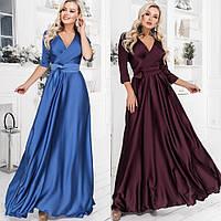 Платье женское вечернее, шелковое, длинное, в пол, нарядное, верх на запах, шикарное, роскошное, модное, фото 1