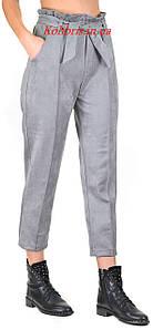 Замшевые модные штанишки момы серый