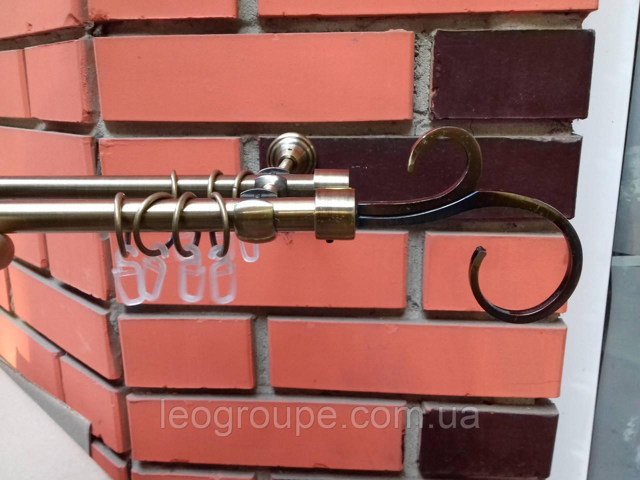Карниз кований подвійний Гак 16+16 антик -3 м