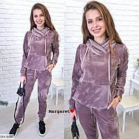 Удобный велюровый женский спортивный костюм арт 8607