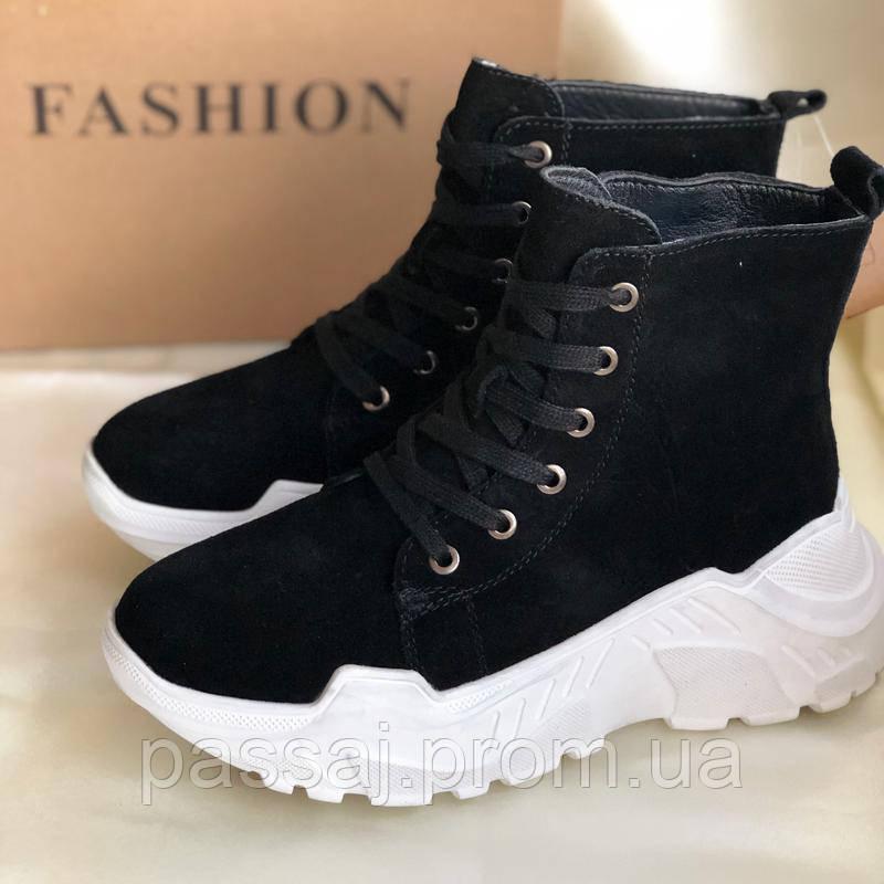 Женские зимние ботинки из натуральной замши