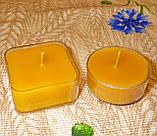 Квадратная прозрачная восковая чайная свеча для аромаламп и лампадок; натуральный пчелиный воск, фото 7