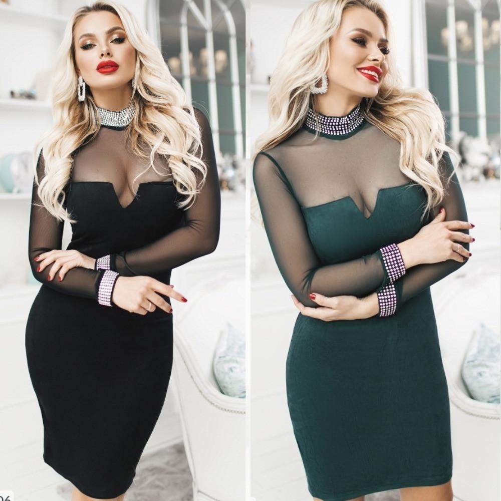 Платье женское, нарядное, вечернее,замшевое, облегающее,футлярное, короткое, с сеткой, с декольте и украшением