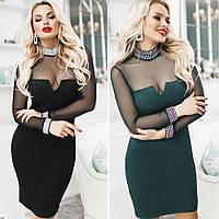 Платье женское, нарядное, вечернее,замшевое, облегающее,футлярное, короткое, с сеткой, с декольте и украшением, фото 1