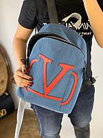 Модный женский джинсовый рюкзак Valentino (реплика), фото 1