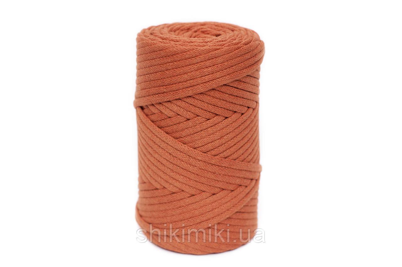 Трикотажный хлопковый шнур Cotton Filled 5 мм, цвет Терракотовый