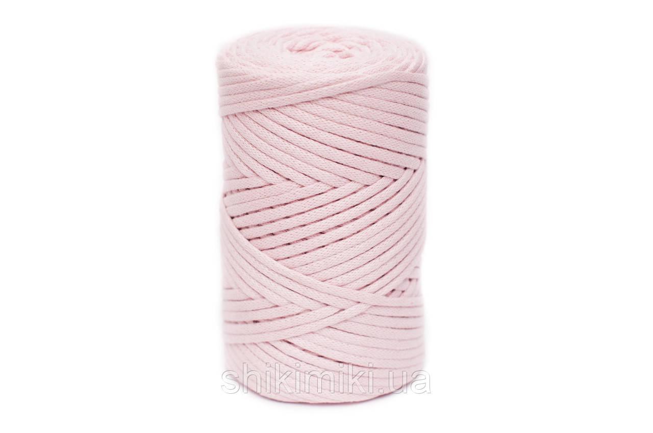 Трикотажный хлопковый шнур Cotton Filled 5 мм, цвет Нежно-розовый