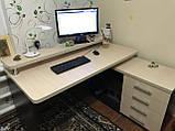 Компьютерный стол с полкой и тумбой, стол офисный V333, фото 2