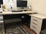 Компьютерный стол с полкой и тумбой, стол офисный V333, фото 5
