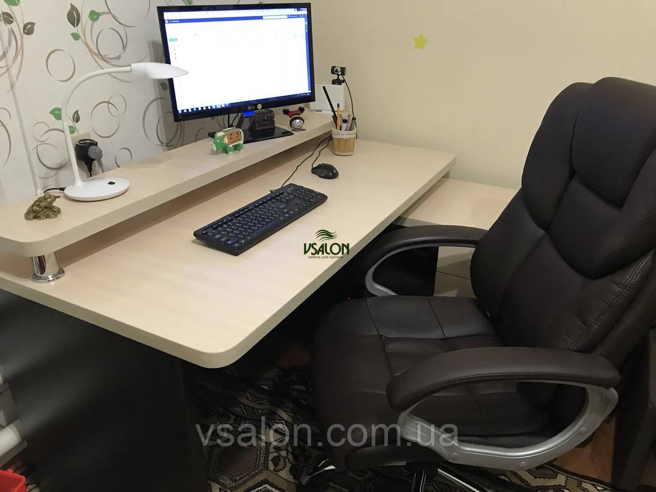 Компьютерный стол с полкой и тумбой, стол офисный V333