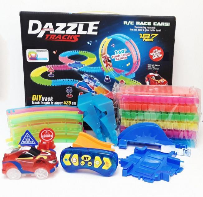 Детская игрушечная дорога DAZZLE TRACKS,гоночная трасса,  Детская автодорога DAZZLE TRACKS 187 деталей
