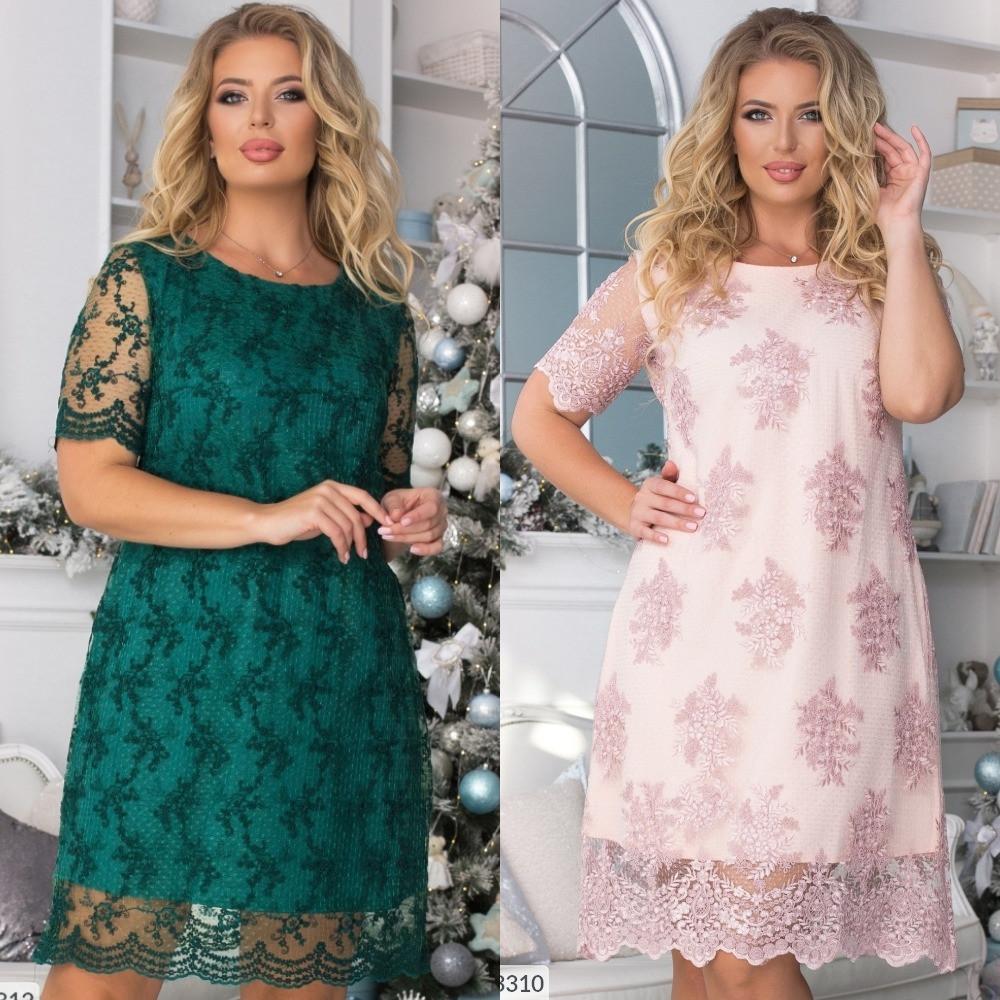 Платье женское большого размера, ровное, свободное, короткое,вышивка на сетке, нарядное, вечернее,  до 54 р-ра