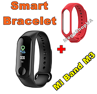 Фитнес браслет Smart Bracelet Mi Band M3 Red штекер зарядка, фитнес трекер, спорт часы, умные часы, фото 1