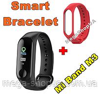 Фитнес браслет трекер Mi Band M3 штекер зарядка, женские мужские умные смарт часы Красные. Розумний годинник