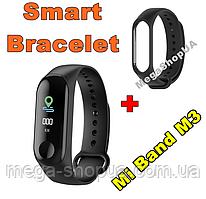 Фитнес браслет трекер Mi Band M3 штекер зарядка, женские мужские умные смарт часы Черные. Розумний годинник