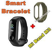 Фитнес браслет Smart Bracelet Mi Band M3 Khaki штекер зарядка, фитнес трекер, спорт часы, умные часы, фото 1