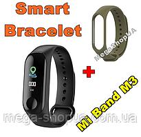 Фитнес браслет трекер Mi Band M3 штекер зарядка, женские мужские умные смарт часы Хаки. Розумний годинник