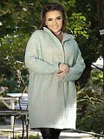 Пальто женское стильное демисезонное шерсть- букле,батал р.48-64 цвет голубой