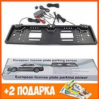 Универсальная рамка для номера с камерой заднего хода EU Car Plate Camera 4 LED Silver+Подарок!