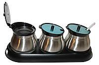 Набор для специй Frico FRU-127 black 3 емкости с ложками