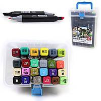 Скетч маркеры  24 цвета двухсторонние в контейнере TK83020-24