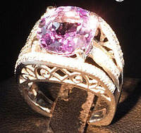 Шикарное кольцо с  александритовой шпинелью и белыми сапфирами , размер 17.3  от студии LadyStyle.Biz