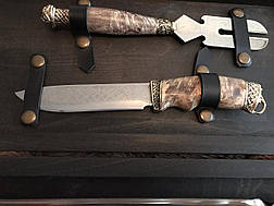 """Набір шампурів з вилкою для м'яса і ножем """"Мушкетер в кейсі з бука - крутий подарунок босові на день народження, фото 2"""