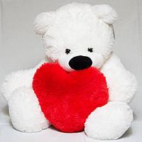 Мишка плюшевый с сердцем в руках, Тедди с сердечком 100 см
