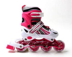 Ролики Power Champs. Pink, размер 34-37
