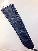 Перчатки женские кожаные в стиле Louis Vuitton  высокие черные, фото 1