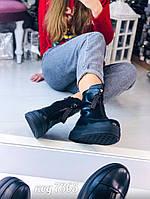 Ботинки черные из эко-кожи 38 размер, фото 1