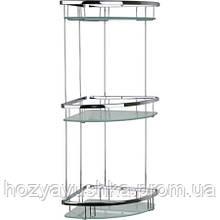 Полочка для ванной комнаты со стеклом 19*19см (латунь) Celik 25173