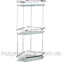 Полочка для ванной комнаты со стеклом 22*22см (латунь) Celik 25125