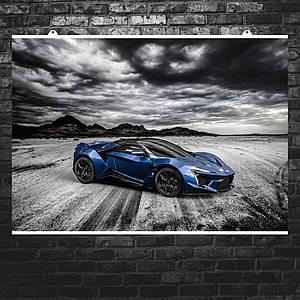 """Постер """"Lykan HyperSport"""". Арабский суперкар Ликан, пустыня. Размер 60x42см (A2). Глянцевая бумага"""
