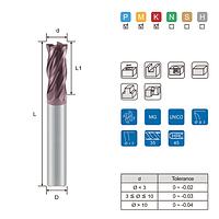 Фреза твердосплавна кінцева 4F Ø8.0 мм для легованих та конструкційних сталей HRC < 48