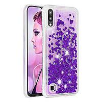 Чехол Glitter для Samsung Galaxy A10 2019 / A105 бампер Жидкий блеск Фиолетовый