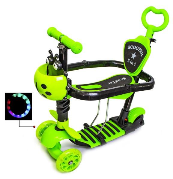 Самокат беговел scooter с родительской ручкой и бортиком 5в1 зеленый. Божья коровка.