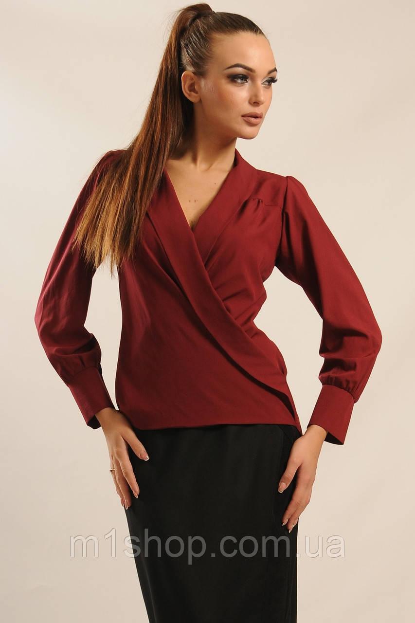 Женская однотонная блуза на запах (Жанин ri)