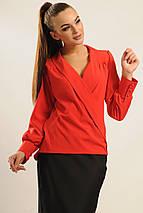 Женская однотонная блуза на запах (Жанин ri), фото 3