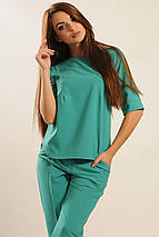 Женская однотонная блуза без застежки (Горчица ri), фото 3