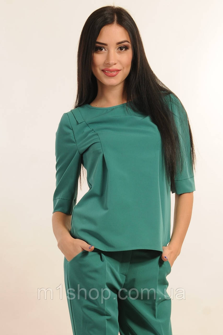 Женская однотонная блуза без застежки (Горчица ri)