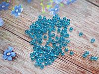 Бусины хрустальные 4х3 мм, 135-145 шт, цвет голубой (прозрачный)