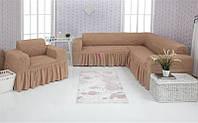 Чехол на диван угловой и кресло Venera 03-211 Кофе