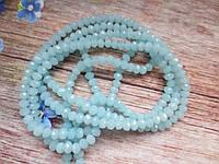 Бусины хрустальные 4х3 мм, 135-145 шт, цвет светло-голубой (непрозрачный)