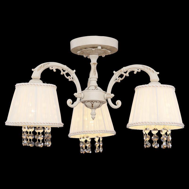 Люстра классическая  для спальни, небольшой комнаты 3-х ламповая с абажурами и хрустальными подвесками 2247/3