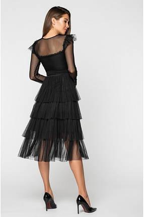 Женское приталенное платье миди /черное, 42-44, PF-3132/, фото 2